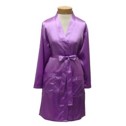 10 Units of Womens Satin Kimono Robe - Lilac - Womens Intimates