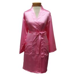 10 Units of Womens Satin Kimono Robe - Pink - Womens Intimates