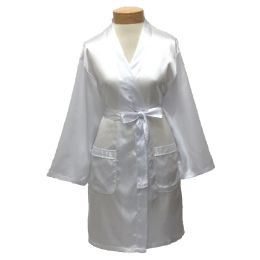 10 Units of Womens Satin Kimono Robe - White - Womens Intimates