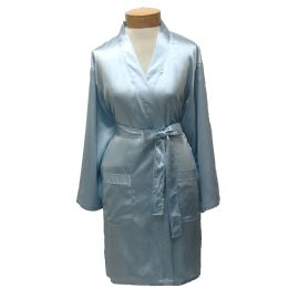 10 Units of Womens Satin Kimono Robe - Sky Blue - Womens Intimates