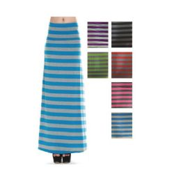 96 Units of Women's Long Striped Skirt In Assorted Colors - Womens Skirts