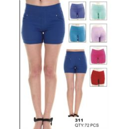 24 Units of Womens Assorted Solid Color Fashion Shorts - Womens Shorts
