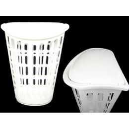 24 Units of Laundry Basket W/cover White - Laundry  Supplies
