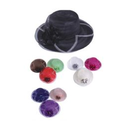 36 Units of Ladies Fashion Hat With Flower Assorted Colors - Baseball Caps & Snap Backs