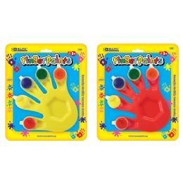 72 Units of Bazic 5 Colors 5 Ml. Finger Paint W/ Hand Shaped Mixing Tray - Paint, Brushes & Finger Paint