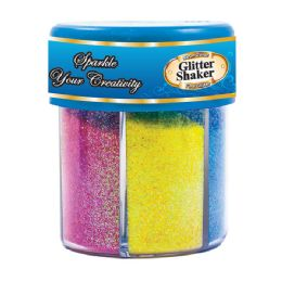 72 Units of BAZIC 80g / 2.82 Oz. 6 Neon Color Glitter Shaker w/ PDQ - Craft Glue & Glitter