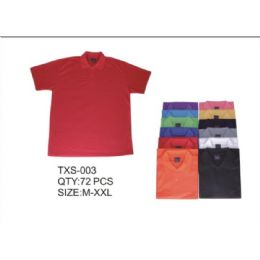 72 Units of Mens Solid Tee Shirts Assorted Color - Mens Polo Shirts