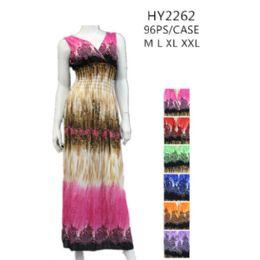 48 Units of Ladies Long Summer Sun Dresses Assorted Colors - Womens Sundresses & Fashion