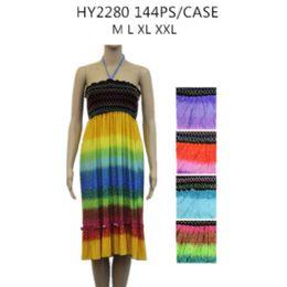 48 Units of Womens Fashion Short Summer Dress Rainbow Colors - Womens Sundresses & Fashion
