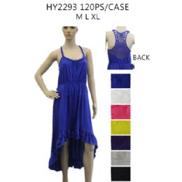 36 Units of Women's High Low Solid Color Sundress - Womens Sundresses & Fashion