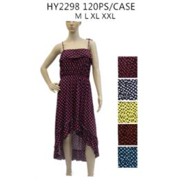 48 Units of Women's High Low Polka Dot Sundress Assorted Color - Womens Sundresses & Fashion