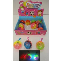 "72 Units of 2.5"" Light Up Yoyo Spike Ball With Squeaker - Light Up Toys"