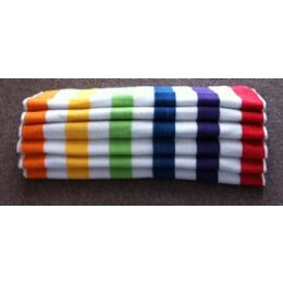 24 Units of Economy Multi-Stripe-6 Different Colored Stripes Beach Towel 100% Cotton - Beach Towels