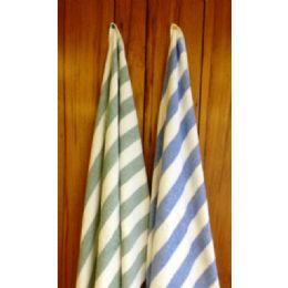 24 Units of Island Stripe Fade Resistant Color Tones Beach Towel 100% Cotton Green Color - Beach Towels