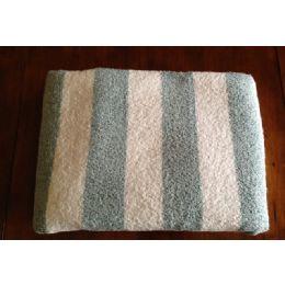 12 Units of Premium Quality Cabana Stripes Soft and Thick Beach Towel End Hem Dobby Border Green Color - Beach Towels