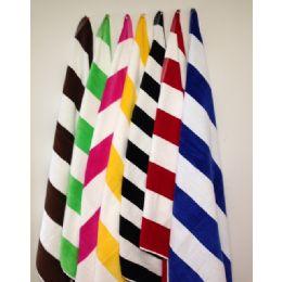 12 Units of Premium Quality Cabana Stripes -Velour Finish 100% Cotton-Soft and Plush Royal Blue/White Color - Beach Towels