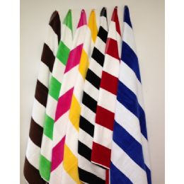 12 Units of Premium Quality Cabana Stripes -Velour Finish 100% Cotton-Soft and Plush Chocolate Brown/White - Beach Towels