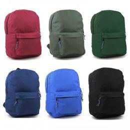 """24 Units of 17"""" Sturdy 600D Backpack In 6 Assorted Colors. - Backpacks 17"""""""