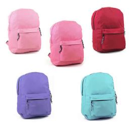 """24 Units of 17"""" Sturdy 600D Backpack In 6 Assorted Colors - Backpacks 17"""""""