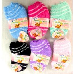 96 Units of Girl Fuzzy Socks - Girls Crew Socks