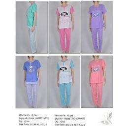 72 Units of Ladies 2 Piece Summer Pj Set - Women's Pajamas and Sleepwear