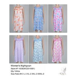 144 Units of Ladies Sleeveless Summer Nightgown Assorted Styles - Women's Pajamas and Sleepwear