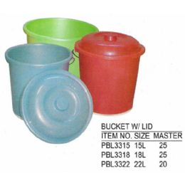 25 Units of 18 L BUCKET WITH LID - Buckets & Basins