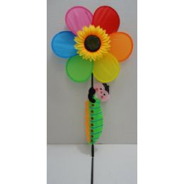 "60 Units of 14"" Rainbow/Sunflower Wind Spinner w Crawling Caterpillar - Garden Decor"