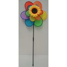 "60 Units of 15"" 6-Petal Double Flower Wind Spinner w Sunflower - Garden Decor"