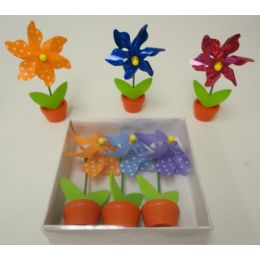 96 Units of 3pk Pinwheel in Flower Pot - Garden Decor