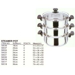 4 Units of 36 CM STEAMER STAINLESS STEEL - Stainless Steel Cookware