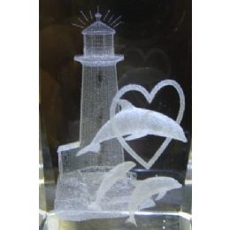 24 Units of 3D Laser Etched Crystal-Dolphins with Lighthouse - Etched Crystal Figurines