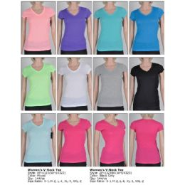 144 Units of Womans V Neck T shirts Assorted Colors And Size - Women's T-Shirts