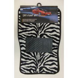 6 Units of 4pc Car Mats-Black & White Zebra Print - Auto Sunshades and Mats