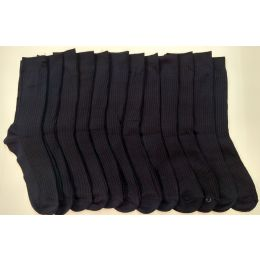 120 Units of Boys Navy Ribbed Dress Socks, Size 9-11 - Boys Dress Socks