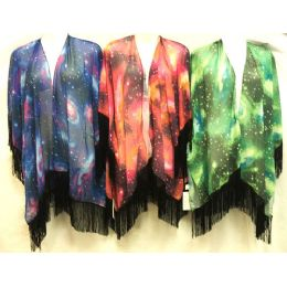 12 Units of Space Star Effect Beach Cover Up with Fringes - Womens Swimwear