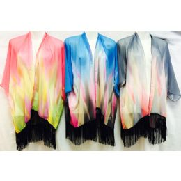 12 Units of Tie Dye Color Effect Beach Cover Up with Fringes - Womens Swimwear