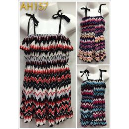 48 Units of Kids Summer Sun Dress Chevron Print with Shoulder Strap - Girls Dresses and Romper Sets