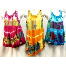 12 Units of Girls Rayon Tie Dye Dress with Sequins Size Medium - Girls Dresses and Romper Sets