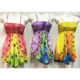 12 Units of Girls Rayon Tie Dye Dresses with Smocked top Assorted Size Small - Girls Dresses and Romper Sets