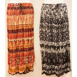 12 Units of Maxi Skirt Ethnic Print Adjustable Waist Tie Assorted - Womens Skirts