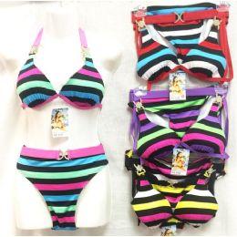 12 Units of bright color stripes Bikini Sets with Rhinestones - Womens Swimwear