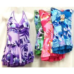 12 Units of Floral Prints One Piece Swimming Suits Assorted - Womens Swimwear