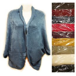 12 Units of Knit Woman Sweater Wrap Shawl Jacket Assorted Colors - Womens Sweaters & Cardigan