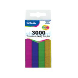 72 Units of BAZIC 3000 Ct. Standard (26/6) Metallic Color Staples - Staples and Staplers