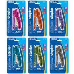 144 Units of BAZIC Transparent Standard (26/6) Stapler w/ 500 Ct. Staples - Staples and Staplers