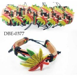 96 Units of Leather Bracelet with Large Marijuana - Jewelry Box