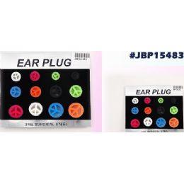 96 Units of Bodyjewelry Peace Sign Ear Plug - Body Jewelry
