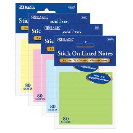 "144 Units of Bazic 80 Ct. 3"" X 3"" Lined Stick On Notes - Dry Erase"