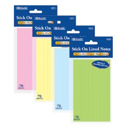 "288 Units of BAZIC 70 Ct. 3"" X 5"" Lined Stick On Notes - Note Books & Writing Pads"